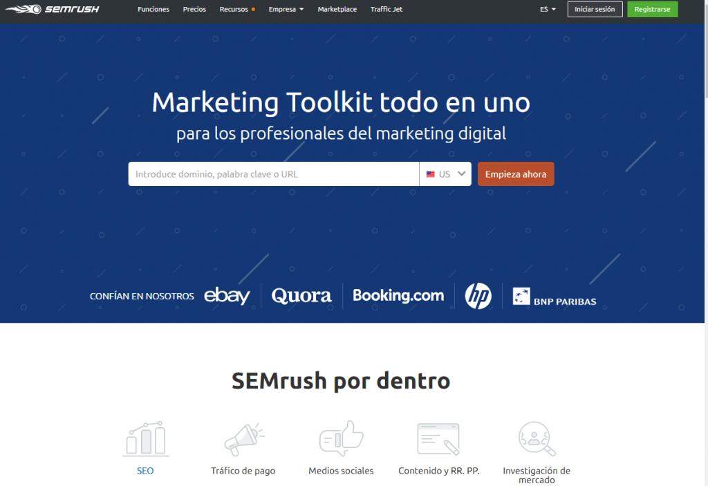 semrush - captura de pantalla de la pagina principal