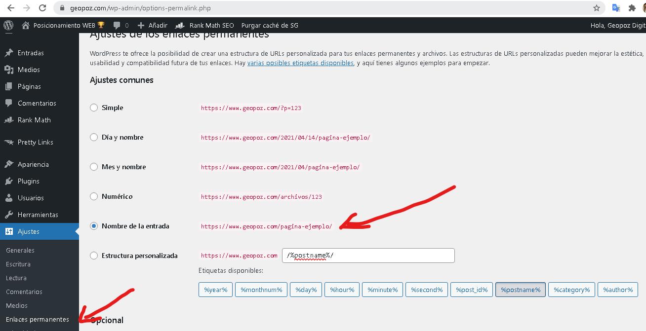 Configuración de enlace permanente en WordPress