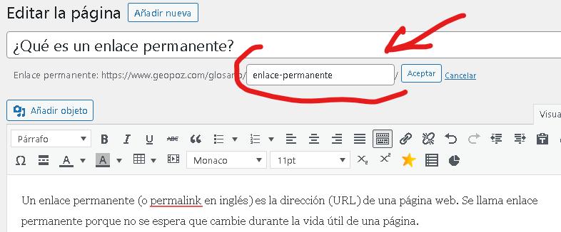 como modificar enlace permanente de cada publicacion en wordpress