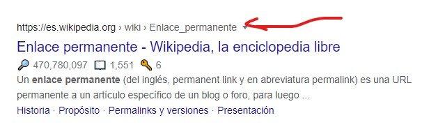 permalinks en los resultados de búsqueda de Google