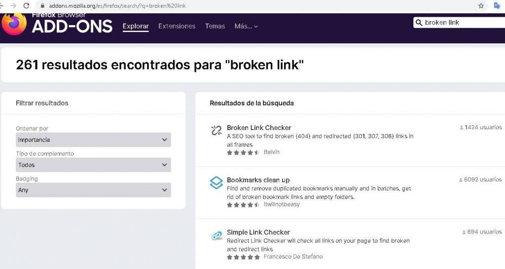 add-ons de Mozilla para detectar enlaces muertos